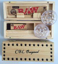 Scatola in legno ROLLING Roll & Raw Kingsize Slim carte suggerimenti SMERIGLIATRICE Fumatore IDEA REGALO