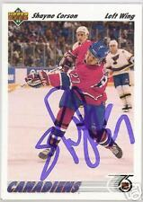 SHAYNE CORSON Montreal Canadiens 1992 UPPER DECK AUTOGRAPHED HOCKEY CARD JSA