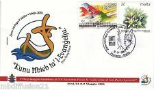 2001 -TIMBRE/SUR ENVELOPPE FDC 1°JOUR -VATICAN-PAPE JEAN-PAUL II-MALTE.SAN PAOLO