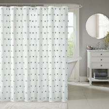 """Beautiful Chic Design White grey Polka Dots 3D Pompoms Shower Curtain 72 x72"""""""