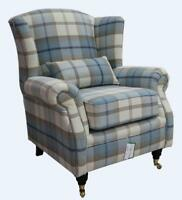 Ashley Wing Chair Fireside High Back Armchair Balmoral Sky Check PS