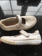 Lelli Kelly Blanco Lona bombas/Zapatos UK 11, EU 29 Verano