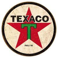 Texaco 1936 Logo Motor Oil Vintage Retro Round Tin Metal Sign 12 x 12in