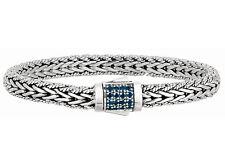 "Phillip Gavriel Sapphire Bracelet Silver Rectangle Cluster Weave Design 7.5"""