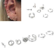 Stylish Women Men 7 Pcs/set Alloy Punk Hoop Cuff Ear Clip Earring Jewelry
