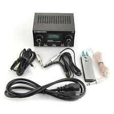 Tattoo Power Supply Digital LCD Dual Machine Foot Pedal Switch 2 Clip Cords