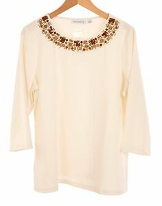 QVC Susan Graver *Size L* 3/4 Sleeve Embellished Top Ivory BNWT 50% off