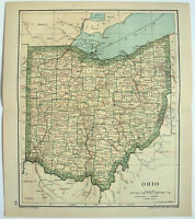 Original 1895 Map of Ohio by Dodd Mead & Company. Antique