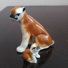 Coppia di cani, cagnolini in ceramica, madre e cucciolo, BOXER