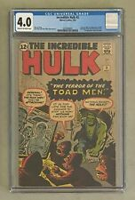 INCREDIBLE HULK #2 Marvel Comics 1962 CGC 4.0 First GREEN HULK Appearance !!