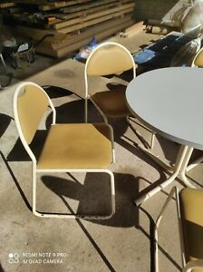 1970s stackable yellow leatherette outdoor indoor dining chairs only £5 each!