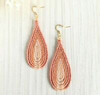 Blush pink beaded earrings, Ombre seed bead earrings, Long beadwork earrings