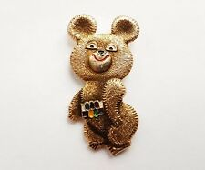 Pin Badge Bear MISHA mascot USSR Olympic Games Moscow 1980 Gold with Color Belt