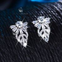 18k white gold filled made with SWAROVSKI CZ crystal earrings stud classic