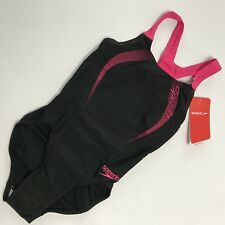 "Speedo Endurance Negro Rosa Muscle Racer Back Traje de baño Tamaño 28"" cuerpo 6"