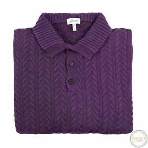 LNWOT Brioni Purple 100% Cashmere Cable Knit Chunky Half Btn Sweater 54EU/XL