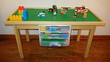 "LEGO NATURAL PLAY TABLE WITH 3 STORAGE DRAWERS SOLID WOOD -29"" HIGH LEGS"