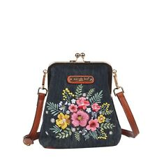 Nicole Lee DEA KISS LOCK FLOWER EMBRODERY CROSSBODY WITH KISS LOCK CLOSURE