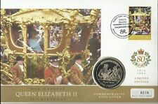 UNION ISLAND QE11 2006 80th BIRTHDAY  1 CROWN COIN / $2 STAMP  FDC MINT