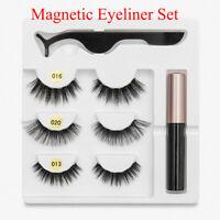 3 Pairs 3D Magnetic False Eyelashes With Liquid Eyeliner Tweezers Eyelashes Set