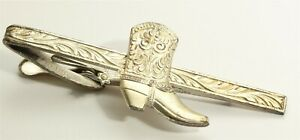 Vintage Hickok Silver Tone Western Etched Tie Bar w/Sterling Silver Cowboy Boot