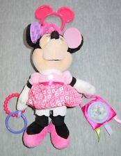 Disney Baby Baby Minnie Mouse Hanging Plush Teething Sensory Crinkle Pink