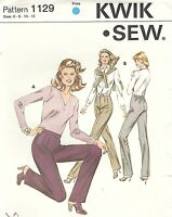 Kwik Sew 1129 Misses' Straight Leg Pants 6, 8, 10, 12     Sewing Pattern