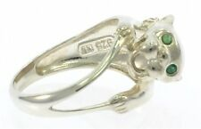 Ladies Panther Ring in Sterling Sliver with Genuine Emeralds
