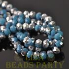 Hot 30pcs 8X6mm Rondelle Faceted Loose Glass Beads Porcelain PeacockBlue&Silver