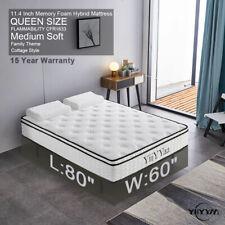 YIIYYAA Queen Size Memory Foam Hybrid Mattress Innerspring 11.4 Inch Durable