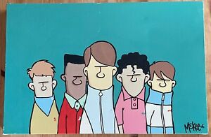 """PETE McKEE VERY RARE EARLY CANVAS ART PRINT 'THE CASUALS' 2006 24"""" x 16"""" x 1.5"""""""