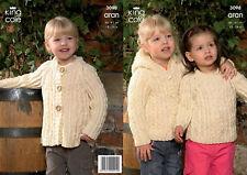 King Cole Aran Knitting Pattern 3098: Sweater ,Hooded Jacket & Coat