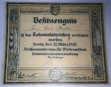 GERMAN - Kolonialabzeichen/Elephant Orden, Award Certificate. 1922.  (Copy)