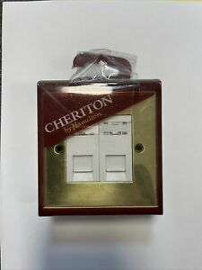 Hamilton Cheriton Victorian Polished Brass 2gang RJ45 Data Network Socket White