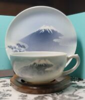 Antique Porcelain/Bone China Tea Cup And Saucer Japan Landscape Scene W/STAND