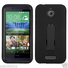 HTC Desire 510 Hybrid Defender Armor Case w/Stand Skin Cover Black Black