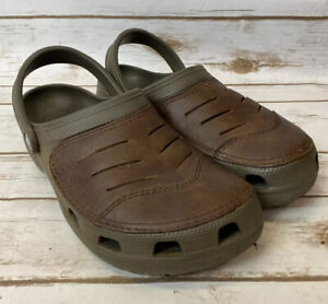 Crocs Bogota Men's Sz 9 Brown Leather Suede Comfort Slip-On Clog Shoes