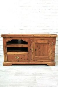 TV Television stand Unit Cabinet With Shelf Drawer and Door Rustic Hardwood