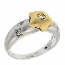 Tow-Tone 14k Fine Gold sparkly Star Shaped Couture Genuine Diamond Ring