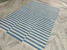 6'x9' Handwoven Blue & White Reversible Cotton Rug Dhurrie Area Rug Flat Weave