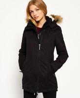 New Womens Superdry Microfibre Tall Windparka Jacket Black