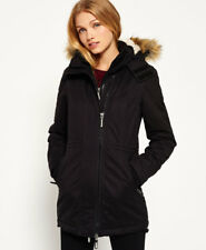 New Womens Superdry Microfibre Tall SD-Windparka Jacket Black