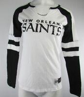 New Orleans Saints NFL Women's Majestic Long Sleeve V-Neck White Black S-XL
