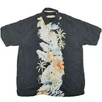 Tommy Bahama Men's Medium Black Silk Floral Hawaiian Button Up S/S Shirt EUC