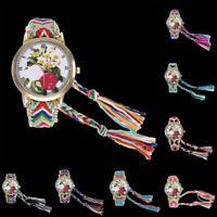 Zhoulianfa Wool Strap Women Wrist Watch Woven Stripe Watch Party Wrist Accessory