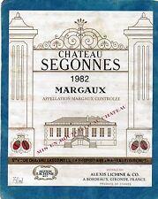 MARGAUX ETIQUETTE CHATEAU SEGONNES 1982 75 CL SPECIALE EXPORT  RARE  §15/08§