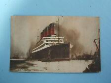 R.M.S. Aquitania Cunard Liner Colour art Postcard Crown Hotel Ryde Isle of Wight