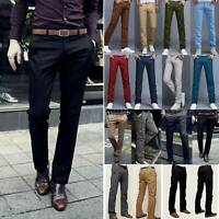 Mens Formal Business Work Slacks Dress Pants Slim Fit Straight Casual Trousers