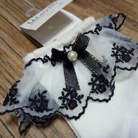 2 Pairs of Girls Elegant Frilly Lace Ankle Socks Dance School Socks Black/White