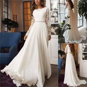Women Long Sleeve Lace Evening Wedding Prom Bridesmaid Ball Gown Long Maxi Dress